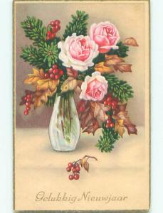 Pre-Chrome new year foreign BEAUTIFUL ROSE FLOWERS IN ANTIQUE GLASS VASE J4553