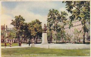 Grosvenor Square And The Roosevelt Memorial, London, England, UK, PU-1950