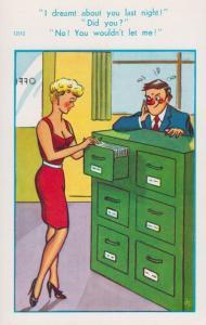 Secretary Office Lady Wet Dream 1970s Comic Humour Postcard