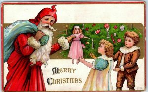 Vintage SANTA CLAUS Christmas Postcard Red Robe & Hood / Blue Bag of Toys c1910s
