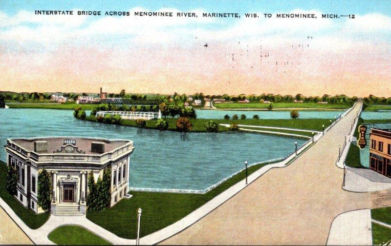 Michigan Marinette Interstate Bridge Across Menominee River 1945