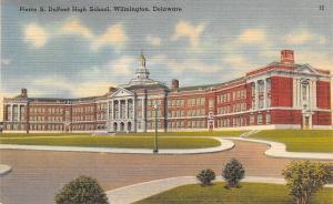 Wilmington Delaware~Pierre S DuPont High School~1940s Linen Postcard
