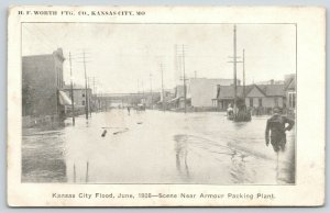 Kansas City MO~Armour Packing Plant~Business~Wagons in Deep~1908 June Flood PC