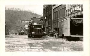 PA - Johnstown. March 18, 1936 Flood. Main St, Trucks Aiding Marooned People ...