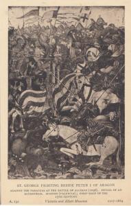 St George Fighting Beside Peter 1st Of Aragon Alcoraz Battle Old Postcard