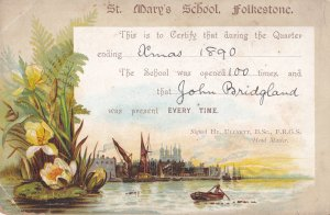 St Marys School Folkestone Kent Fishing Boat 1890 Attendance Card