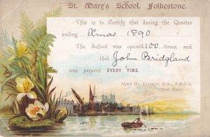 St Marys School Folkestone Kent Fishing Boat 1890 Attendance Card