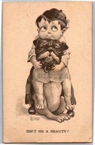 Boy Showing Off Bulldog He's a Beauty Artist Bernhardt Wall c1911 Postcard A29