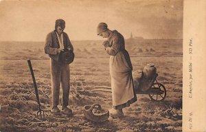 Art Post Card,Old Vintage Artist Postcard L'Angelus, ar Millet Unused