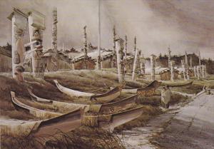 Totem Poles , Haida Village of Ninstints Indians, Queeb Charlotte Islands, B....
