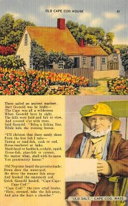 Poetry Post Card Old Cape Code House Cape Cod, Massachusetts, USA Postcard 1945