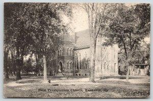 Rushville IL~First Presbyterian Church~Parsonage?~Fire Hydrant by Tree~1908 B&W