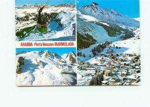Postcard Arabba Porta Vescovo Marmolada Lift Aerial Snow Mounts Italy  #3779A