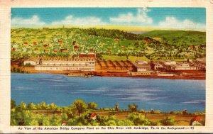 Pennsylvania Ambridge Aerial VIew American Bridge Company Plant On Ohio River...