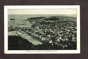 ME Aerial view Camden Maine Vintage :Postcard 1912 Harbor Houses