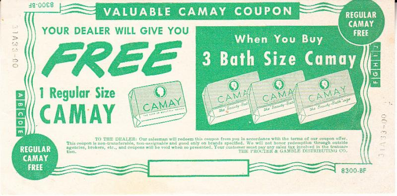 Coupon for Free Bar of Camay Soap 1952