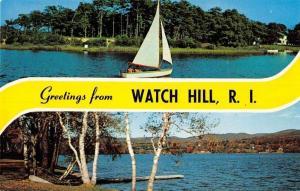 Watch Hill Rhode Island Sailboat Scenic View Vintage Postcard J76238