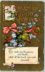 1910s Embossed Greetings Postcard EMBLEM OF GOOD FORTUNE Flowers UNUSED