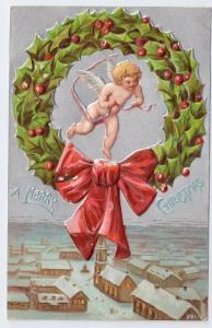 Vintage Christmas Postcard Cherub Angel in Holly Wreath Embossed Silver ca 1907