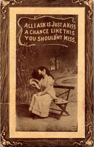 1911 Postkarte - Romanze -all I Ask Ist Nur Ein Kiss Kunst Holz Rahmen Sepia Mit
