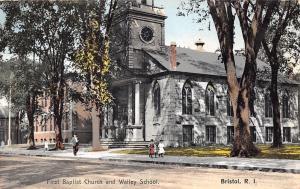 Bristol Rhode Island~First Baptist Church~Walley School~Kids on Sidewalk~1910 PC