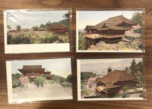 LOT OF 4 - Japan Postcard - Kyoto - View of Kiyomizudera Temple - vintage