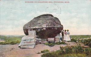 Massachusetts Fitchburg Bowlder On Rollstone Hill 1908