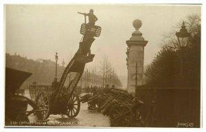 Antique military WW1 RPPC postcard Captured German Guns In London