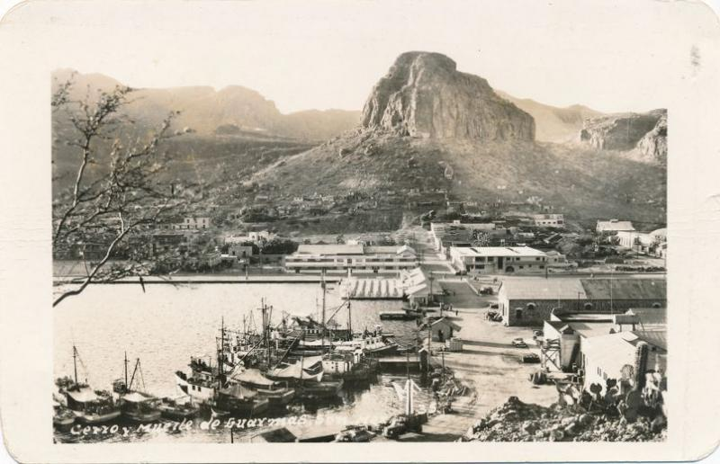 RPPC Harbor Scene at Guaymas, Mexico - Cerro y muetle