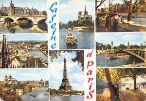 France Paris Laseine Bridge Church Eiffel Tower Panorama Postcard