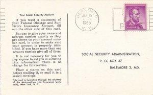 Social Security Wage Statement Request on Postcard - Ephemera - pm 1965