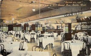 F32/ Seattle Washington Postcard 1910 Interior The Spier Cafeteria