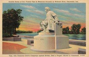Postcard Col Francis Vigo Memorial Grounds Vincennes Indiana
