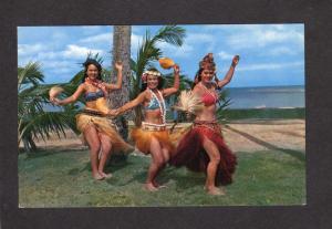 HI Hawaii Postcard Dancers Hula Girls Polynesian Oahu Center Tahitian Kodak Show