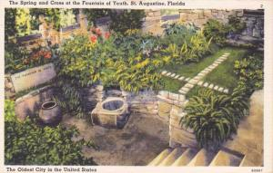 Fountain of Youth - Spring and Cross - St Augustine FL, Florida - Linen