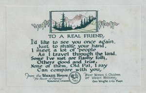 TORONTO, Ontario, Canada, 1900-1910s; To A Real Friend Poem, The Walker House