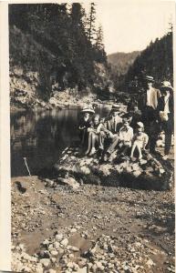 F25/ Bull Run Oregon RPPC Postcard 1912 Family Swimming River Mt Hood