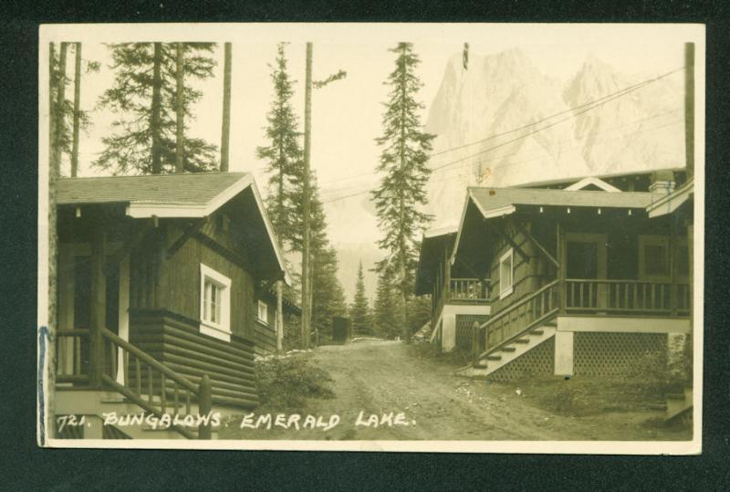 Bungalow Cabins on Emerald Lake Canada RPPC Real Photo Postcard