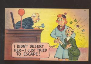 COURTROOM JUDGE DIVORCE COURT MAN ABUSE VINTAGE COMIC POSTCARD