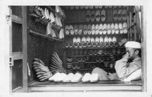 Tangier Morocco Shoe Salesman Real Photo Antique Postcard J48833