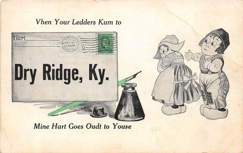 Kentucky Ky Postcard 1913 DRY RIDGE Pennant Dutch Kids Ledders Kum 1