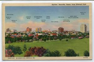 Named Buildings Skyline Amarillo Texas 1940s postcard
