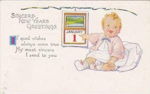 Sincere New Years Greetings, Baby pointing at January 1st on calendar, 10-20s