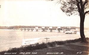 Bellevue Iowa~Lock & Dam~View From Shore~1941 Real Photo Postcard~RPPC