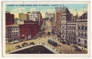 P654 JLs old card street scene old cars trolly state street to capitol albany ny