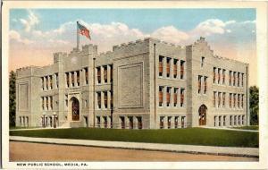 New Public School, Media Pennsylvania c1914 Vintage Postcard N04