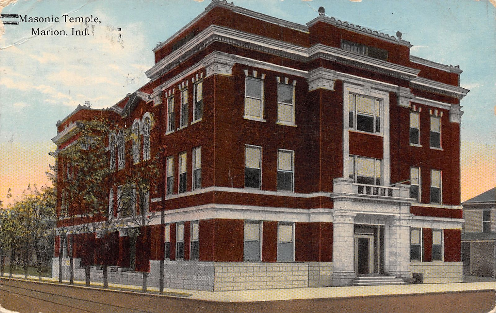 Marion Indiana~Masonic Temple~Line of Trees 1914 To Malissa ...