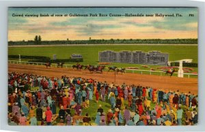 Hollywood FL, Crowd At Gulfstream Park Race Course, Linen Florida c1951 Postcard