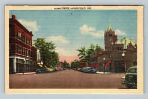 Monticello IN, Main Street, Period Cars Clock Tower Cafe, Linen Indiana Postcard