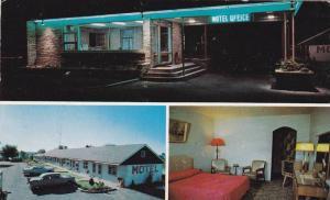3-View Postcard, Night View, Classic Cars, Davis Motel, Brockville, Ontario, ...